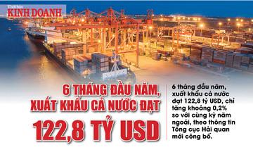 6 tháng đầu năm, xuất khẩu cả nước đạt 122,8 tỷ USD