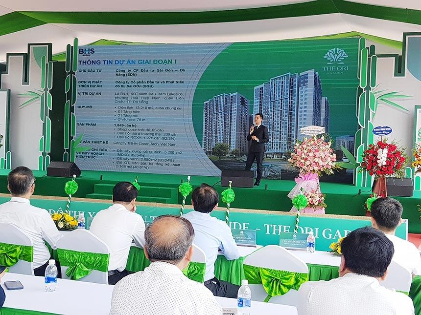 Ông Nguyễn Xuân Đức, Tổng Giám đốc BHS Group miền Trung giới thiệu về dự án Nhà ở xã hội The Ori Garden
