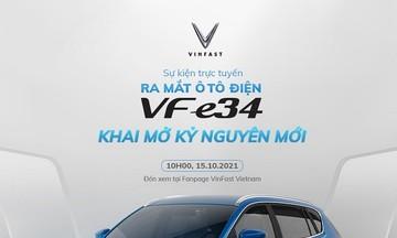 Ô tô điện VF e34 chính thức 'trình làng' vào 10h sáng ngày 15/10